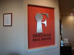 Friedman Real Estate Lobby Sign Cut Metal