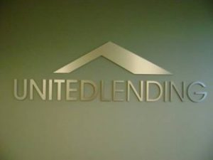 United Lending Cut Metal Lobby Sign